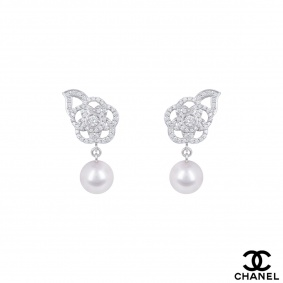 Chanel White Gold Diamond And Pearl Camelia Earrings